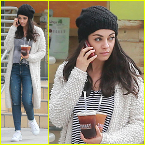 Mila Kunis Makes Stylish Coffee Run for Two