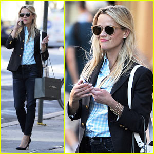 Reese Witherspoon Models Her Fashion Line While in NYC