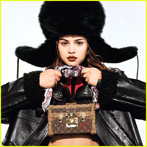 Selena Gomez Wears Giant Faux Fur Hat For Louis Vuitton Campaign