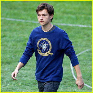 Tom Holland Wears School Sweatshirt on 'Spider-Man: Homecoming' Set