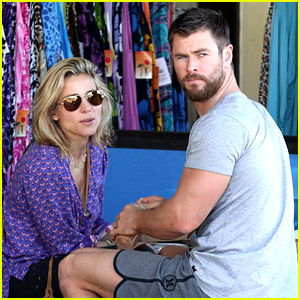 Chris Hemsworth & Elsa Pataky Dine at Outdoor Food Stand in Australia