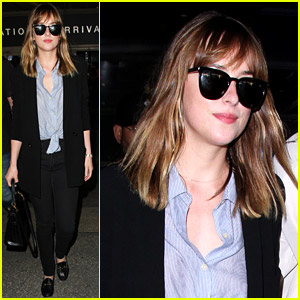 Dakota Johnson Arrives Home After 'Fifty Shades' Wraps Filming
