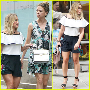 Hilary Duff & Sutton Foster Look Chic While Filming 'Younger'
