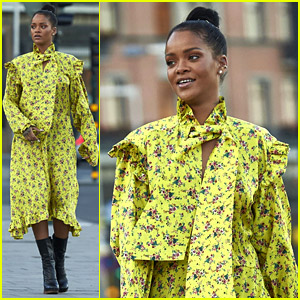 Rihanna Wears Ruffled Yellow Dress for Dinner in Stockholm