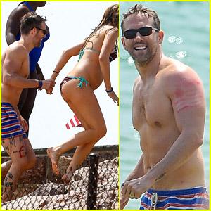 Ryan Reynolds Shows Off Leg Tattoos While Shirtless! (Photos)