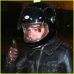 Josh Hutcherson Rides His Motorcycle to the Movies