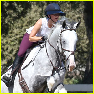 Kaley Cuoco Goes Horseback Riding While Boyfriend Karl Cook Stands By