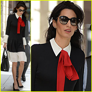 Amal Clooney is Business Chic With a Red Necktie in NYC