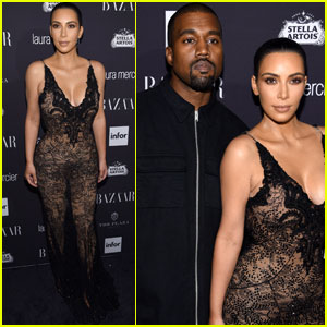 Kim Kardashian & Kanye West Couple Up at Harper's Bazaar Icons Party