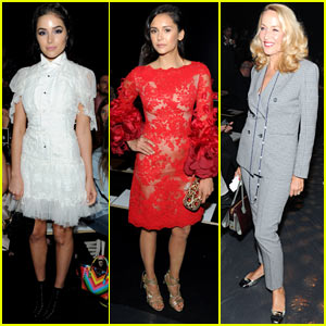 Nina Dobrev, Olivia Culpo, & Jerry Hall Sit Front Row at Marchesa NYFW Show!