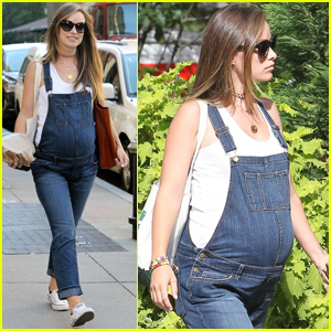 Olivia Wilde Shows Off Her Baby Bump in Cute Overalls