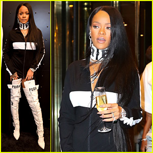 Rihanna Leaves Her Pop-Up Shop with Champagne in Hand