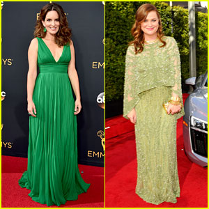 Tina Fey & Amy Poehler Wear Green Looks for Emmys 2016