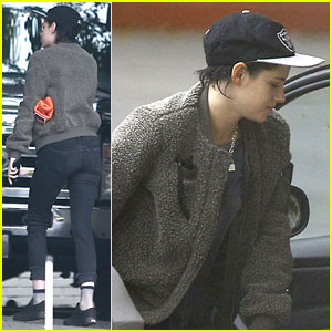 Kristen Stewart Wears Raiders Hat to Chateau Marmont