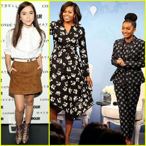 Michelle Obama Talks Girls' Education With Yara Shahidi & Rowan Blanchard in D.C.