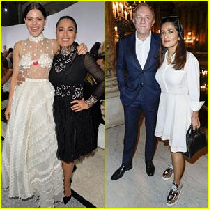 Salma Hayek Sits Front Row at Two Paris Fashion Shows