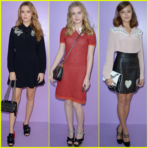 Zoey Deutch, Angourie Rice & Ella Purnell Check Out Miu Miu Show in Paris