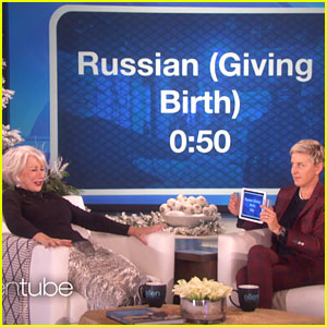 VIDEO: Helen Mirren Imitates a Russian Giving Birth in Hilarious Game with Ellen DeGeneres!