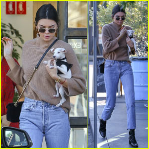 Kendall Jenner Brings Her Christmas Puppy to Lunch!