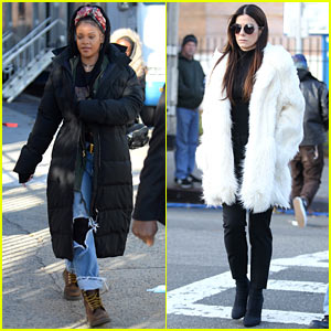 Rihanna & Sandra Bullock Bundle Up for More 'Ocean's Eight' Filming!