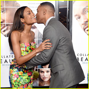 Will Smith & Naomie Harris Share a Sweet Red Carpet Kiss at 'Collateral Beauty' Premiere!