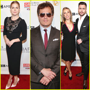 Amy Adams Reunites with 'Nocturnal Animals' Co-stars Michael Shannon & Aaron Taylor-Johnson at BAFTA Tea Party