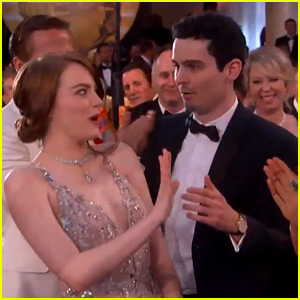 VIDEO: Emma Stone Had the Most Awkward Hug Moment at the Golden Globes!