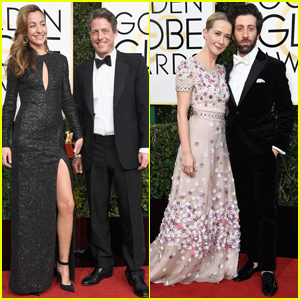 Hugh Grant Couples Up With Anna Eberstein at Golden Globes 2017