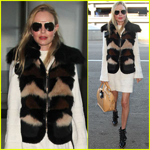 Kate Bosworth Rocks Fur Vest For Flight Out of Town