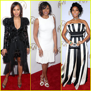 Kerry Washington, Taraji P. Henson, & Janelle Monae Are Pretty in Black & White for Producers Guild Awards