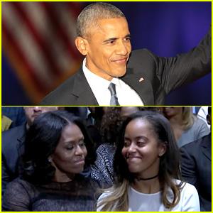 VIDEO: President Obama Praises Michelle, Malia, & Sasha During His Farewell Address