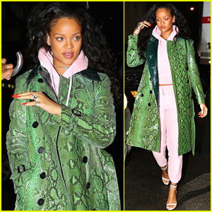 Rihanna Steps Out in Bold Python-Print Jacket in NYC