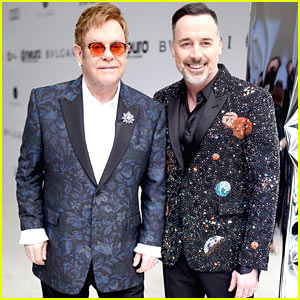 Elton John & David Furnish Rock Out of This World Blazers at EJAF Oscar Party!