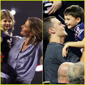 Gisele Bundchen & Kids Celebrate Tom Brady's Super Bowl Win on Field!