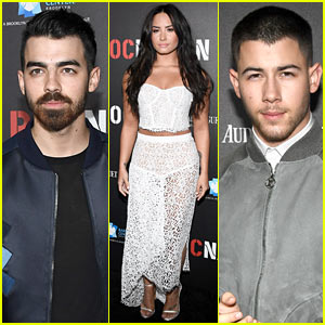 Joe Jonas Joins Brother Nick & Demi Lovato at Roc Nation's Pre-Grammy Brunch