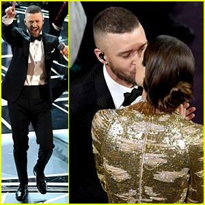 Justin Timberlake Kisses Wife Jessica Biel During Oscars 2017 Performance of 'Can't Stop the Feeling'