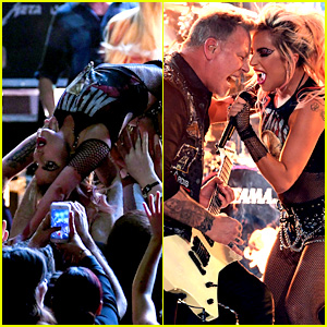 Lady Gaga Crowd Surfs During Grammys 2017 Performance with Metallica! (Video)
