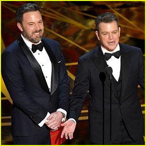 Ben Affleck & 'Guest' Matt Damon Present at Oscars 2017, Matt Gets Played Off by Jimmy Kimmel