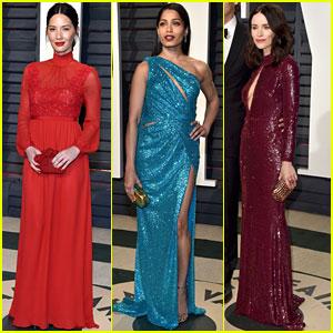 Olivia Munn & Freida Pinto Glam Up for Vanity Fair's Oscars Party