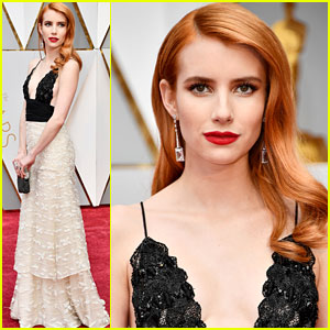 Emma Roberts Walks the Oscars 2017 Red Carpet in Vintage Armani Prive