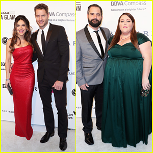 'This Is Us' Stars Justin Hartley & Chrissy Metz Couple Up At Elton John's Oscars Party!