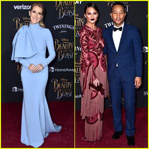 Celine Dion Joins Chrissy Teigen & John Legend at the 'Beauty & the Beast' Premiere
