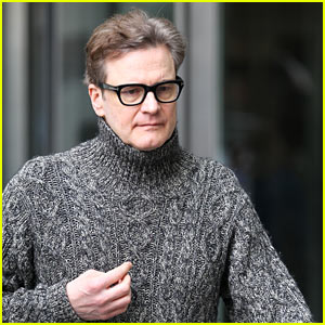 Colin Firth Dons Grey Knitted Sweater While Filming 'Love Actually' for Comic Relief