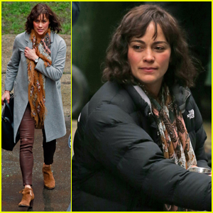 Paula Patton Braves the Rain For 'Somewhere Between' Filming