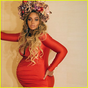 Pregnant Beyonce Wears Form-Fitting Red Dress to Wearable Art Gala!