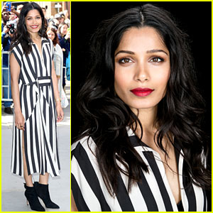 Freida Pinto Wears Bold Stripes for Her Day of NYC Promo!