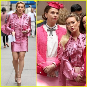 Hilary Duff & Sutton Foster Rock Retro Looks While Filming 'Younger'
