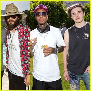 Jared Leto, Tyga & Brooklyn Beckham Check Out Interscope Coachella House