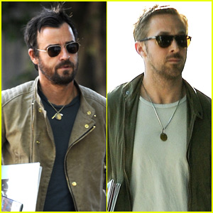 Ryan Gosling & Justin Theroux Leave Separately After Lunch