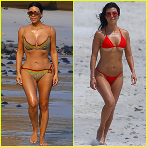 Kim & Kourtney Kardashian Wear Tiny Bikinis on the Beach in Mexico